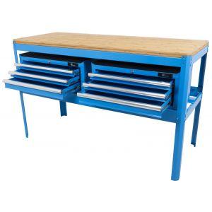 Ragnor werkbank met bamboe werkblad en 2 gereedschapskisten leeg blauw