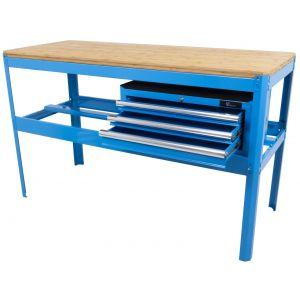 Ragnor werkbank met bamboe werkblad en gereedschapskist leeg blauw