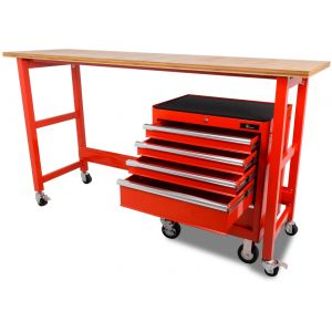 Ragnor werkbank verrijdbaar met werkblad en gereedschapswagen leeg rood