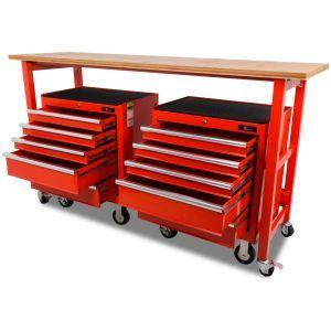 Ragnor werkbank verrijdbaar met werkblad met 2 gereedschapswagens leeg 10-lades rood