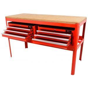 Ragnor werkbank met bamboe werkblad en 2 gereedschapskisten leeg rood