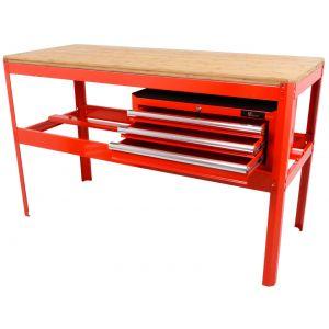 Ragnor werkbank met bamboe werkblad en gereedschapskist leeg rood